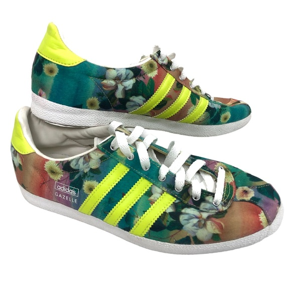 Adidas Gazelle Floral Print Shoes Size 8 1/2 RARE
